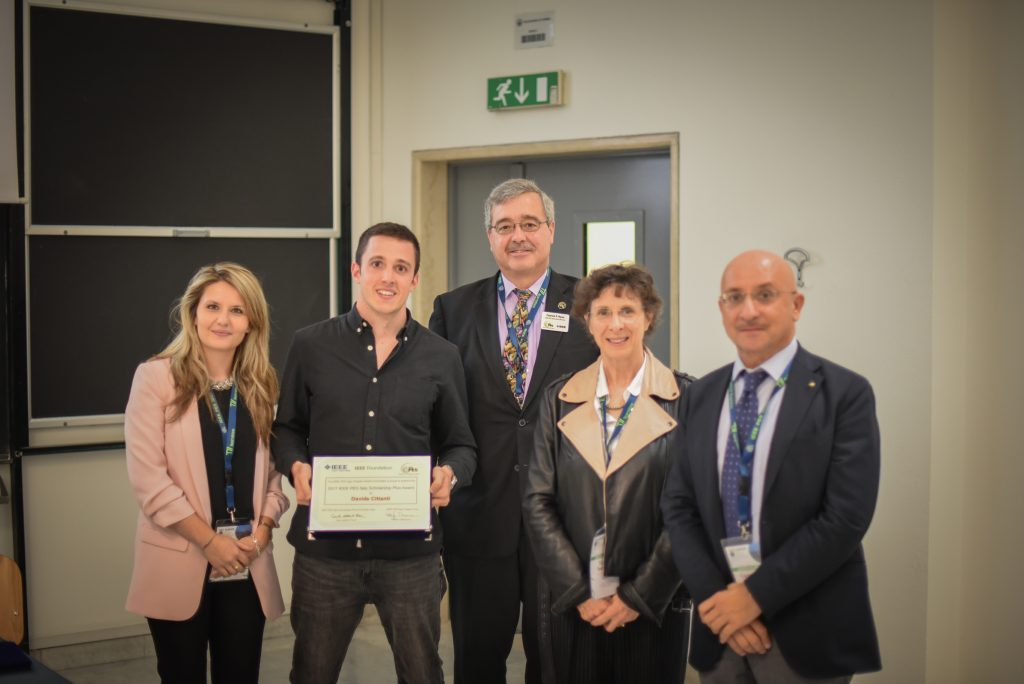 Davide Cittanti receives the scholarship certificate at the award ceremony (Innovative Smart Grid Technologies Conference 2017, Turin, Italy)