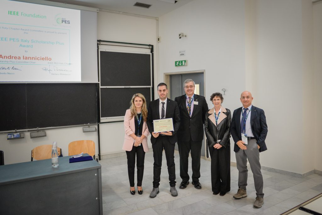 Andrea Ianniciello receives the scholarship certificate at the award ceremony (Innovative Smart Grid Technologies Conference 2017, Turin, Italy)